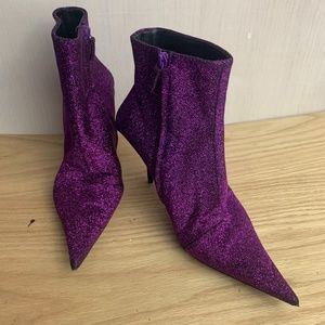 Balenciaga Purple Glitter Sparkle Knife Boots 38.5